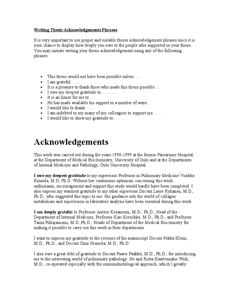 Thesis Acknowledgement Thesis Acknowledgement Sample LAB REPORT FORMAT