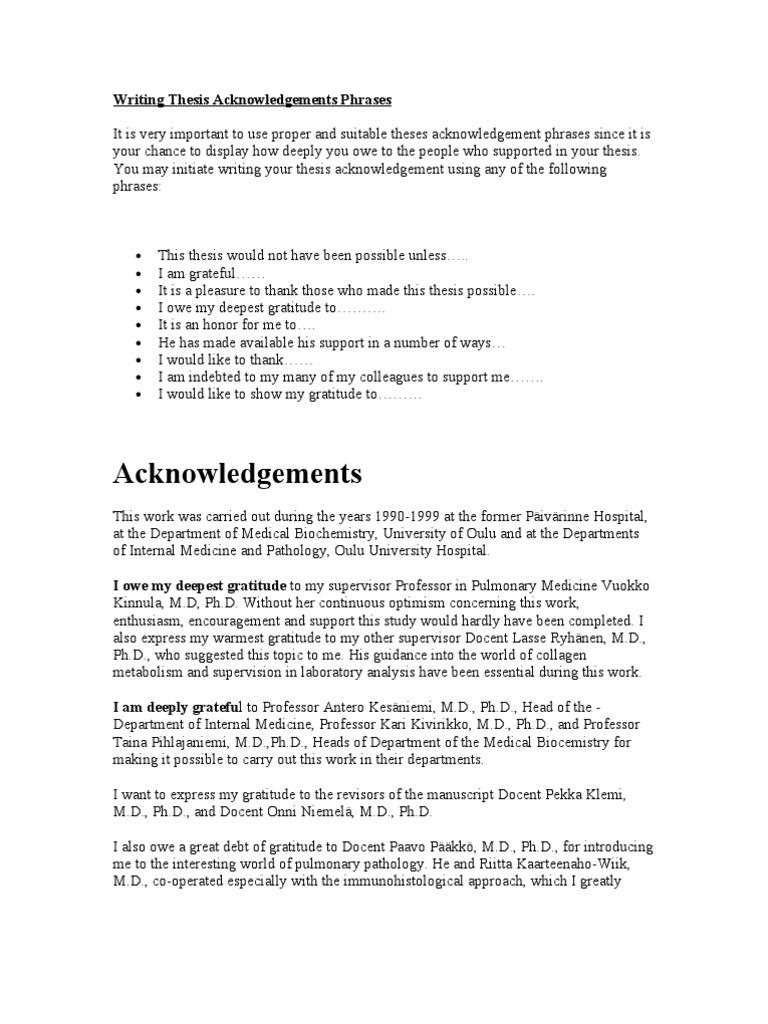 Acknowledgment in dissertation