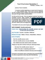 Curriculum Letter 4th October 2011