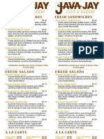 Java Jay Single Sided Menu With Taco Salad 9-29