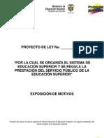 Exposición de Motivos Propuesta de Nueva Ley de Educación, Octubre de 2011