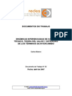 Centro Redes, Doc.nro.32, Dinámicas Diferenciadas de Cambio Técnico, Teoría Del Valor y Términos de Inter Cam Bio