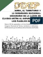 Congreso Nacional de Tierras Territorio y Soberania, Documento del  MODEP