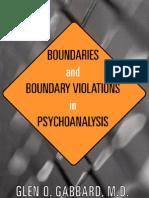 Boundaries and Boundary Violations in Psychoanalysis