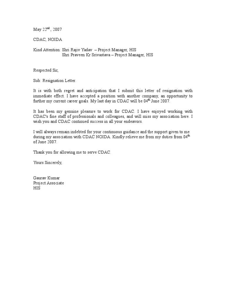 Resignation Letter Sample 1 Communication – Resignation Letter Sample India