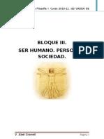 Bloque III Ser Humano, Persona y Sociedad