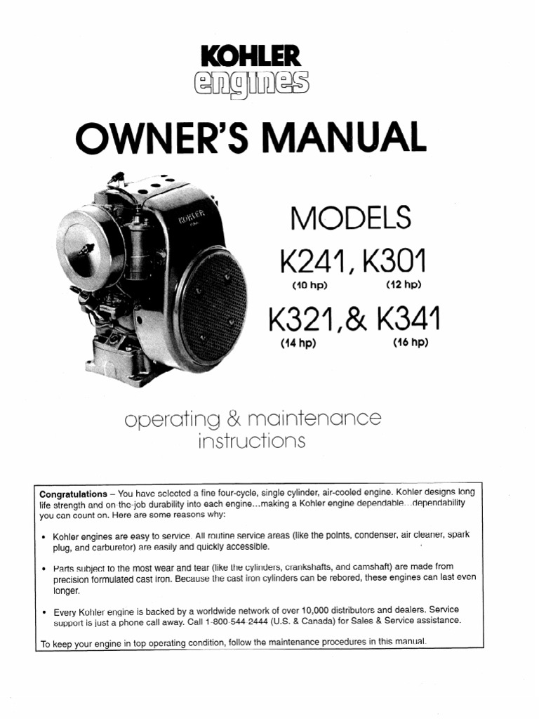 Kohler K Series Owners Manual | Carburetor | Gasoline on