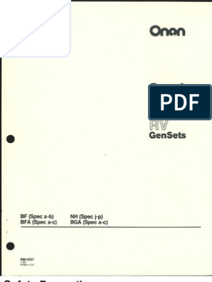 Onan BF BFA BGA NH Service Manual  Bfa Onan Generator Wiring Diagram on