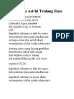 Lirik Lagu Astrid Tentang Rasa