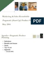 Pragmatic (Start Up) Product Planning