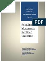 Relatório de Movimento Relilíneo Uniforme