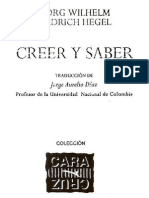 Hegel. Creer y Saber