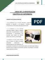 IMPORTANCIA DE LA INVESTIGACIÓN CIENTÍFICA EN ENFERMERÍA