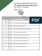 2 Decker Tartick Final Checklist Fine Arts, PE, Health