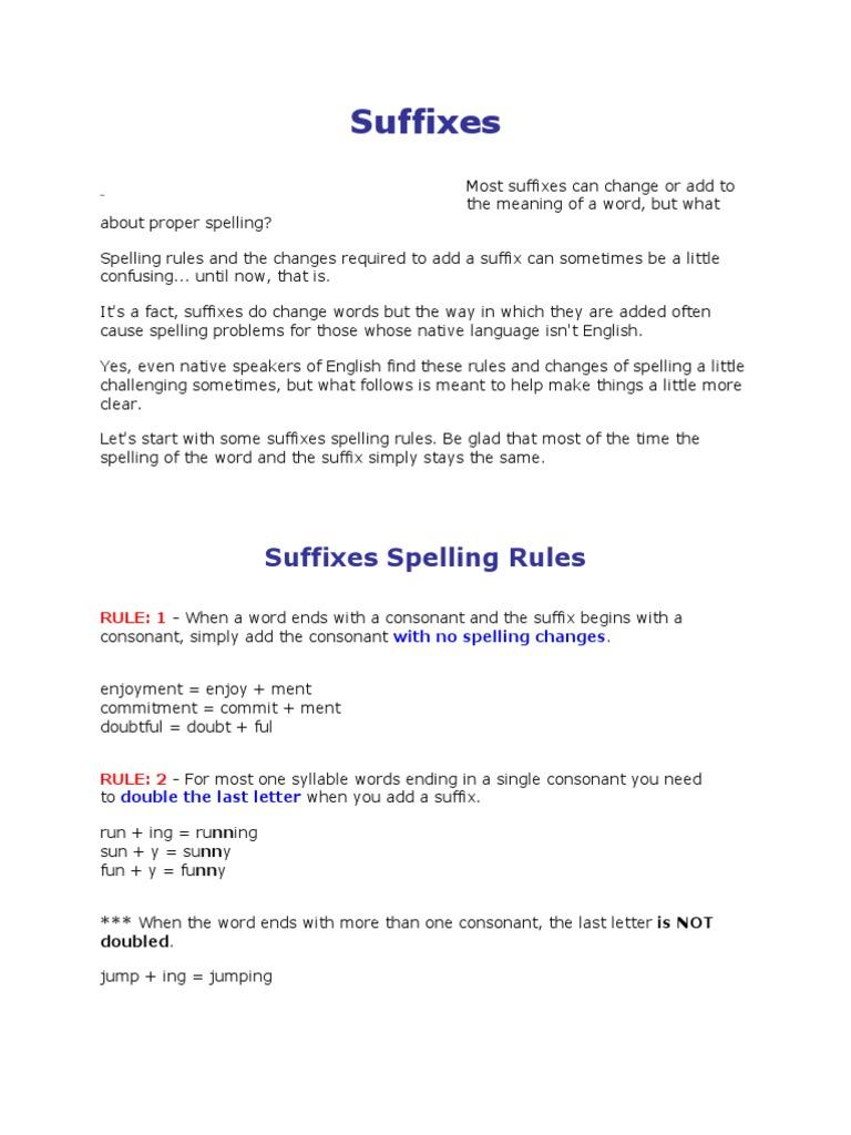 Suffixes English Language Syllable