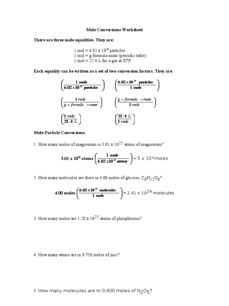 Mole Conversions Worksheet | Mole (Unit) | Gases