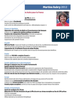 Propositions Martine Aubry