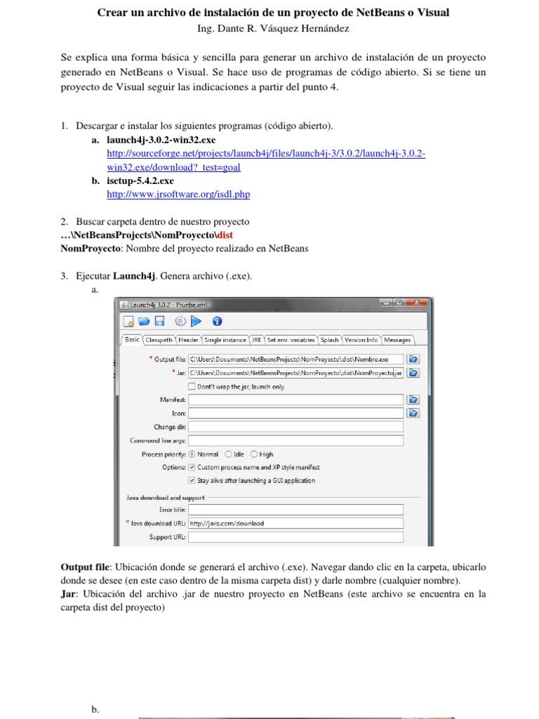 Crear un archivo de instalación de un proyecto de NetBeans o