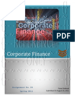 Corporate Finance-Assignment No. 01