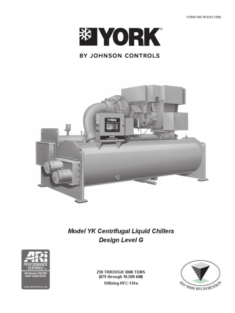 York - Model YK Centrifugal Liquid Chillers   Heat Exchanger   Gas  Compressor