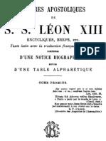 Lettres Apostoliques de S.S.leon XIII - (Tome 1)