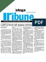 Napa LGBTQ Community Forum in Calistoga Tribune Sept. 30 2011