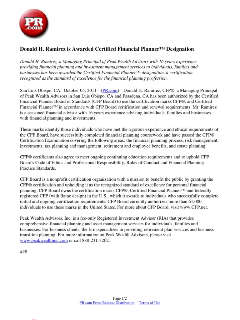Donald H Ramirez Is Awarded Certified Financial Planner