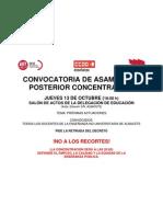 CONVOCATORIA ASAMBLEA DIA 13102011