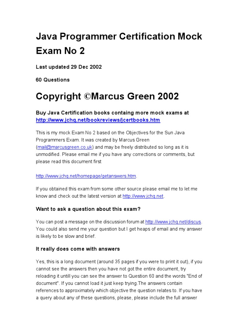 Java programmer certification mock exam 2 method computer java programmer certification mock exam 2 method computer programming class computer programming 1betcityfo Image collections