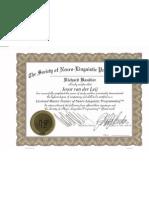 NLP Master Trainer certificaat Joost van der Leij