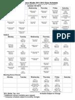 2011-2012 Schedule West Wood Village