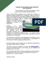 Sorteo de Entradas Para Partidos Del Espanyol