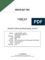Medifast, Inc. 10K - 2007