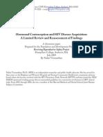 Hormonal Contraception & HIV Disease Acquisition
