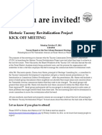Historic Tacony Revitalization Project Kick Off Meeting Flyer