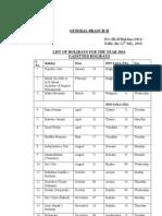 DU Holiday List 2011