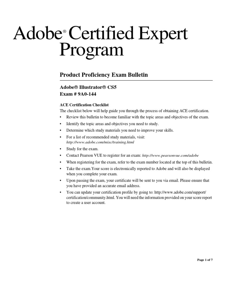 Ace Exam Guide Illustratorcs5 Adobe Systems Portable Document Format