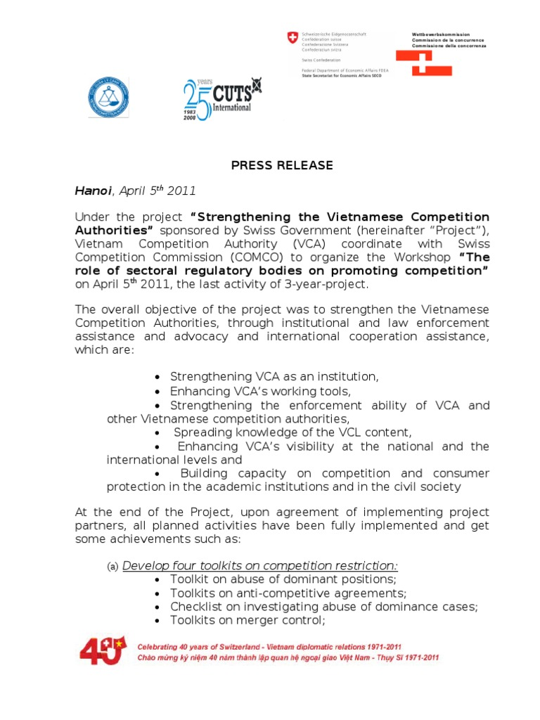 Press Release For The Swiss Vietnam Project On Competition