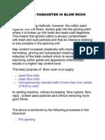 Process Parameter in Blow Room