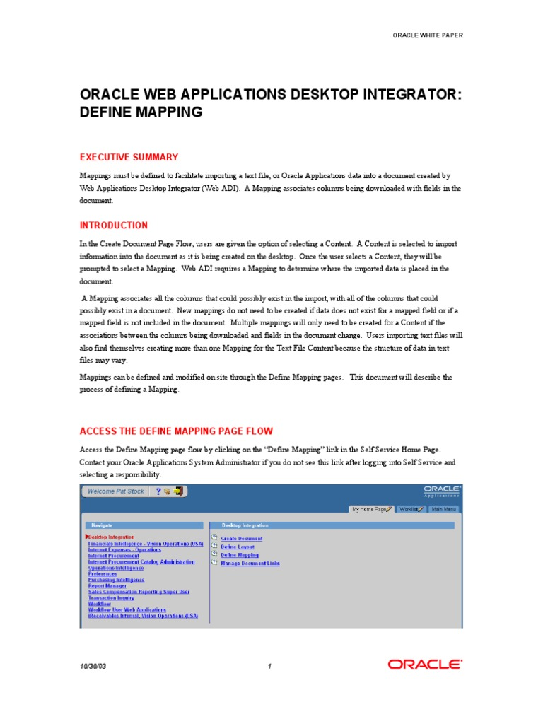 WEBADI Define Mapping | Oracle Database | Doent on