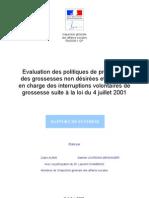 Rapport Sur Les Politiques de Prevention Des Grossesses Non Desirees Et de Prise en Charge Des IVG