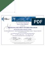 Dott. F.M. Ferazza - Certificate Advanced Intelligence Course (Dr. Thomas FINGAR)