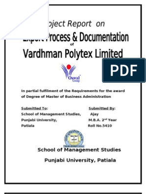 Vardhman Polytex Limited Bathinda Project for Mba | Bill Of Lading