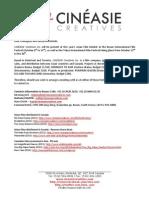 Press Release (10-06-2011) - CINÉASIE Creatives will be present in BIFF in South Korea & TIFF in Japan