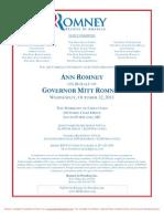 Reception for Mitt Romney