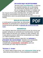 TABLAS DE DECISIÓN BAJO INCERTIDUMBRE