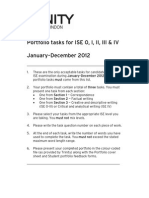 Portfolio Tasks (ISE 0 - IV) 2012
