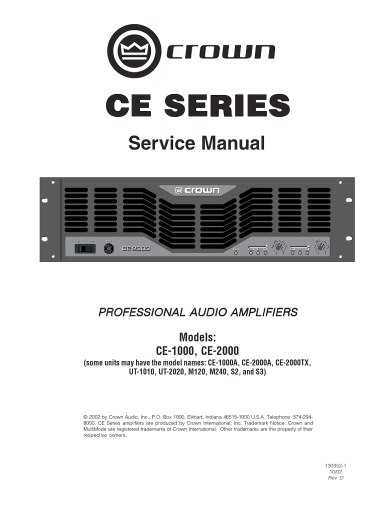 130352 1 10 02 Ce1 2 Serv Revd Amplifier Operational 1kw Rmsmosfetamplifier Service Manual Free Download Schematics