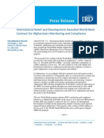 9-2 International Relief and Development Awarded World Bank  Contract for Afghanistan Monitoring and Compliance
