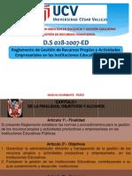 D.S. 028 -2007-ED para sustentación